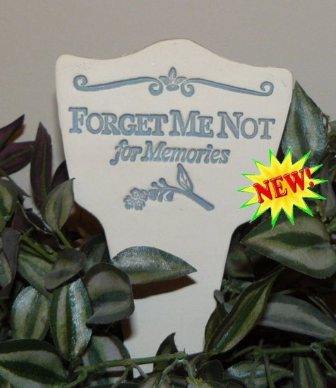 'FORGET ME NOT for Memories' Garden Lore MARKER Stoneware
