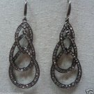 Overlapped Chandelier Drop Gunmetal-Clear Fashion Earrings by Teknowear