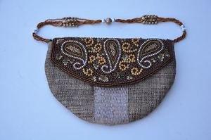 Khaki Jute Zari Sling Embroidered Hand Bag By Teknowear