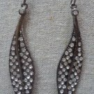 Crystal Gunmetal-Clear Leaf Earrings by Teknowear