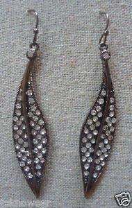 Crystal Gunmetal-Clear Leaf Earrings by Teknowear