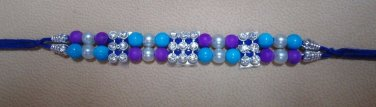 Rakhi in Blue Lapis & Purple with Clear Crystals By Teknowear