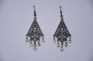 Dangle Drop Earrings with Crystal Clear Stones