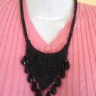 Beaded Tear Drop Heta Chinki Statement/Collar necklace in Black by Teknowear