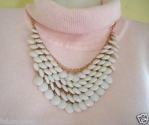 Stylish Gemstone Decorated Multi-Layered Water Drop Shape Heta Necklace in White