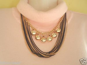 GoldTone Multi Strand Vintage/Choker/Statement/Bib Chain Necklace With Gold Bead