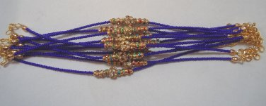 Multi Color Crystal Rakhi/Bracelet in Gold Tone Knoted With Beads By Teknowear