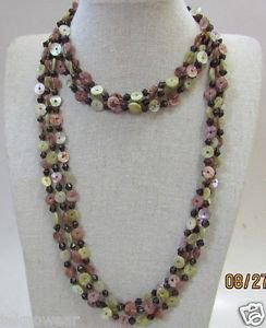 Spacer 3 Strand Necklace in Pink,Lime & White With Baltic Amber & Black Beads