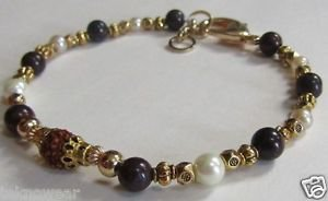 Rudraksh Rakhi/Bracelet With Natural Pearls & Antique Gold Beads By Teknowear