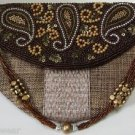Bead & Sequined Clutch in Khaki Jute Zari Sling Embroidered By Teknowear