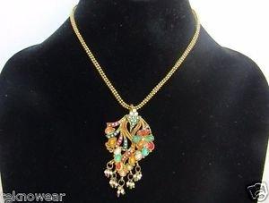 Jhumki Style Antique Gold Collar/Choker/Charm Necklace/Earrings Set by Teknowear