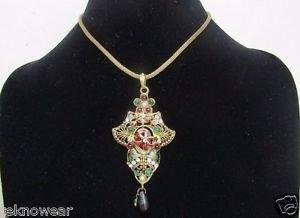 Antique Gold/Multi Collar/Choker/Charm Necklace/Earrings Set by Teknowear