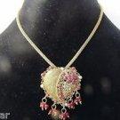 Love/Heart Shape Collar/Choker/Charm Necklace/Earrings Set in Ruby/Antique Gold