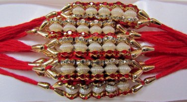 Khush Rakhi by Teknowear beaded with Ruby Red & Clear Crystals