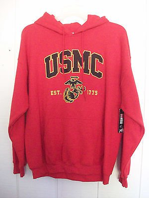 NEW USMC Red Pull Over Sweatshirt Hoodie Est 1775 Size LARGE - last one