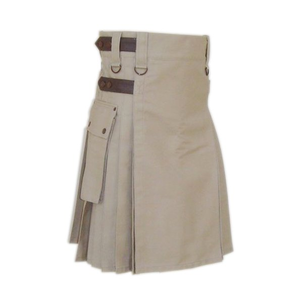 Khaki Cotton Utility Kilt Handmade Tactical kilt Custom Size Duty Kilt