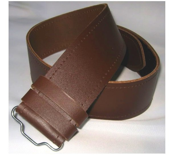 Scottish Highland Thick Brown Genuine Leather Kilt Belt without Buckle Custom Size
