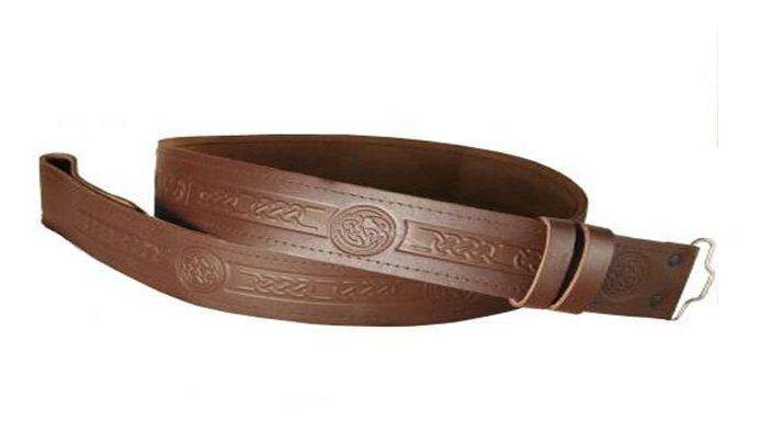 Handmade Embossed (Celtic knot) Brown Leather Kilt Belt for Utility, Tartan, and Traditional Kilt.