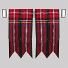 Black Stewart Tartan Kilt Flashes Garters Traditional kilt Hose Flashes
