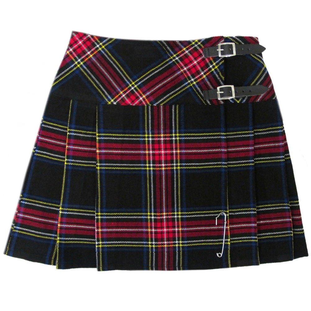 Scottish Black Stewart Tartan Prime Kilts Highland Wear Ladies Billie Skirts custom Size