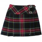 Scottish Black Stewart Tartan Prime Kilts Highland Wear Ladies Billie Skirts custom Size