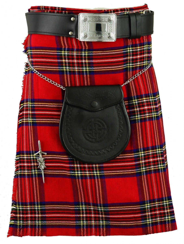 Traditional Royal Stewart Tartan Kilt for Men Scottish Highland Utility Custom Size Sports Kilt