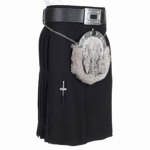 Traditional Plain Black Tartan Kilt Acrylic Wool Active Men Sports 48 Size Kilt
