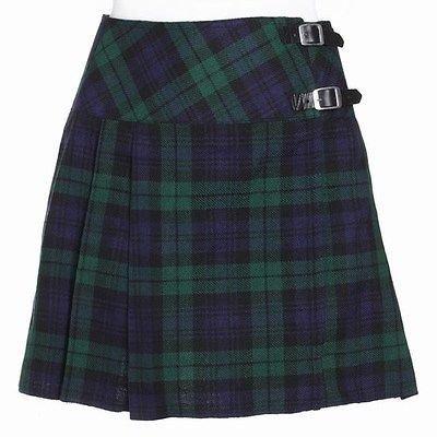 Scottish Black Watch Ladies Tartan Kilt Mini Billie Kilt Mod Skirt Fit to 26 Size