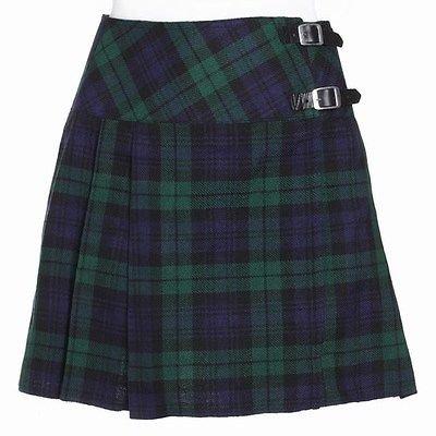 Scottish Black Watch Ladies Tartan Kilt Mini Billie Kilt Mod Skirt Fit to 38 Size