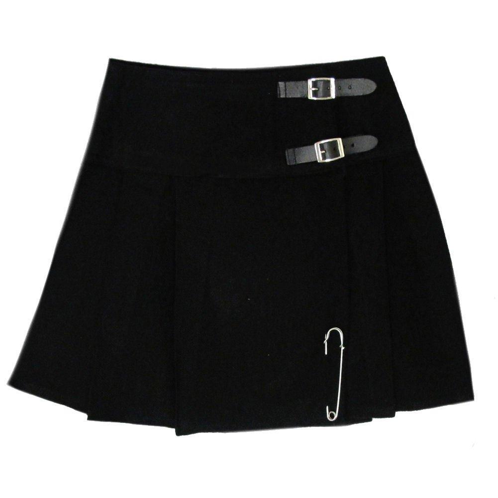 Ladies Plain Black Tartan Skirt Scottish Mini Kilt Mod Skirt With Leather Straps Fit to 28 Size