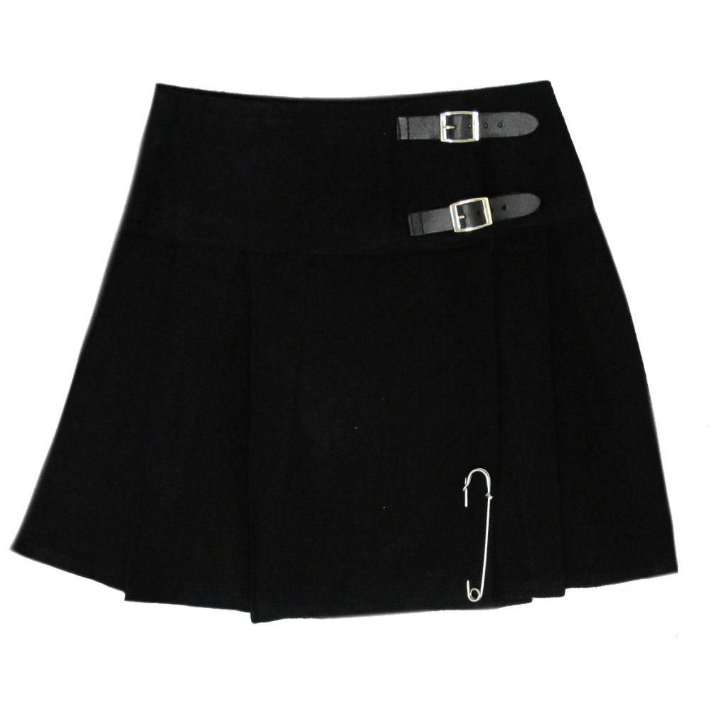 Ladies Plain Black Tartan Skirt Scottish Mini Kilt Mod Skirt With Leather Straps Fit to 34 Size