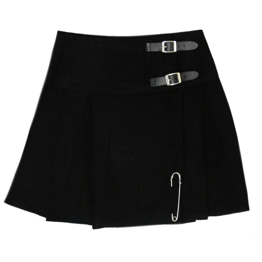 Ladies Plain Black Tartan Skirt Scottish Mini Kilt Mod Skirt With Leather Straps Fit to 42 Size