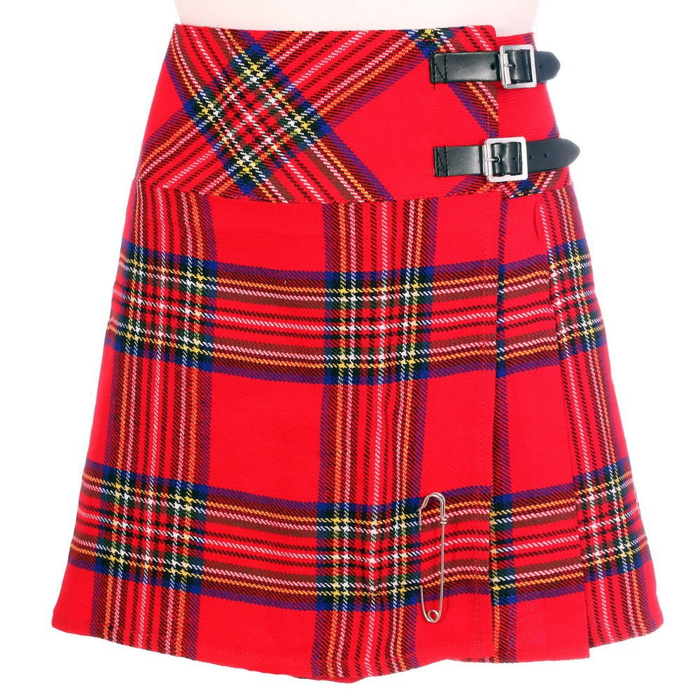Scottish Royal Stewart Tartan Skirt Highland Mini Billie Kilt Mod Skirt Fit to Size 40