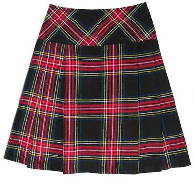 Scottish Black Stewart Tartan Prime Kilts Highland Wear Ladies Billie Skirt Fit to Size 26