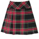 Scottish Black Stewart Tartan Prime Kilts Highland Wear Ladies Billie Skirt Fit to Size 26