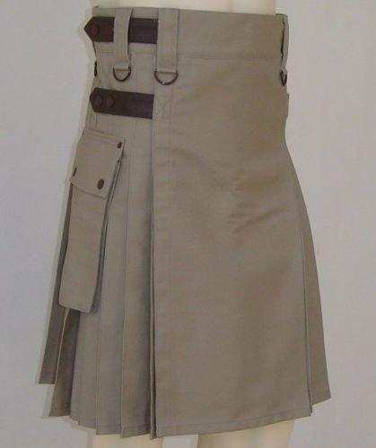 Khaki Cotton Utility Kilt Handmade Tactical kilt 48 Size Duty Kilt