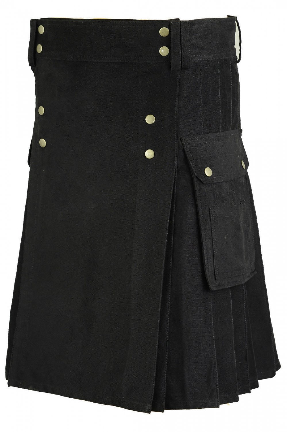 Gothic Black Cotton Outdoor Kilt for Men 28 Size Utility Kilt with Brass Material
