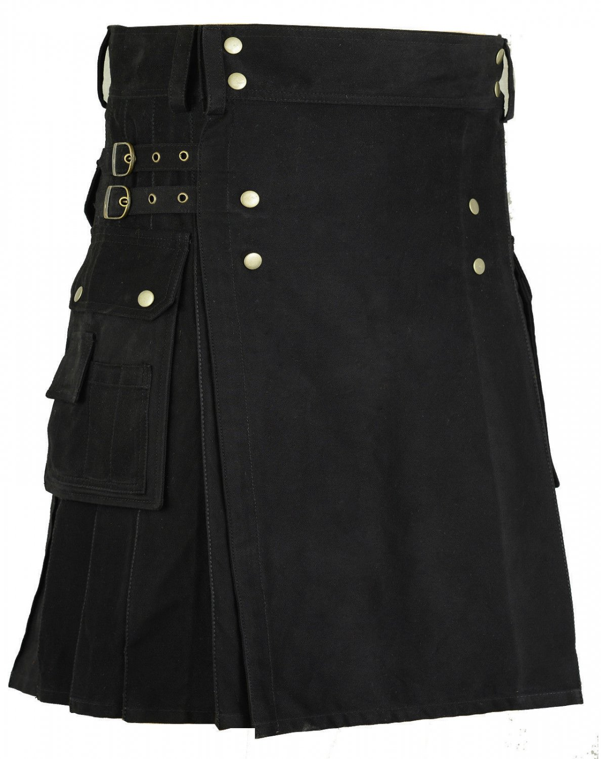 Gothic Black Cotton Outdoor Kilt for Men 50 Size Utility Kilt with Brass Material