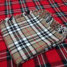 "Scottish Wear Camel Thompson Tartan Traditional Purled & Fringed Fly Plaid 48"" x 48"""