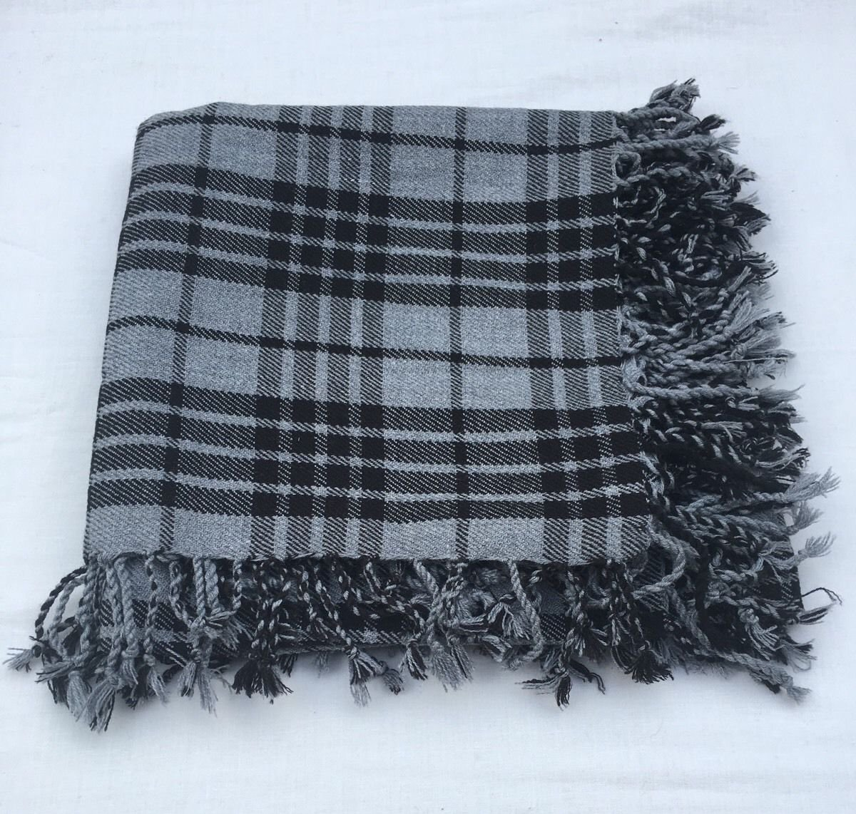 "Gray Watch Scottish Kilt Tartan Fly Plaid 48"" x 48"" Highland Kilt Gray Watch Fly plaid Shawl"