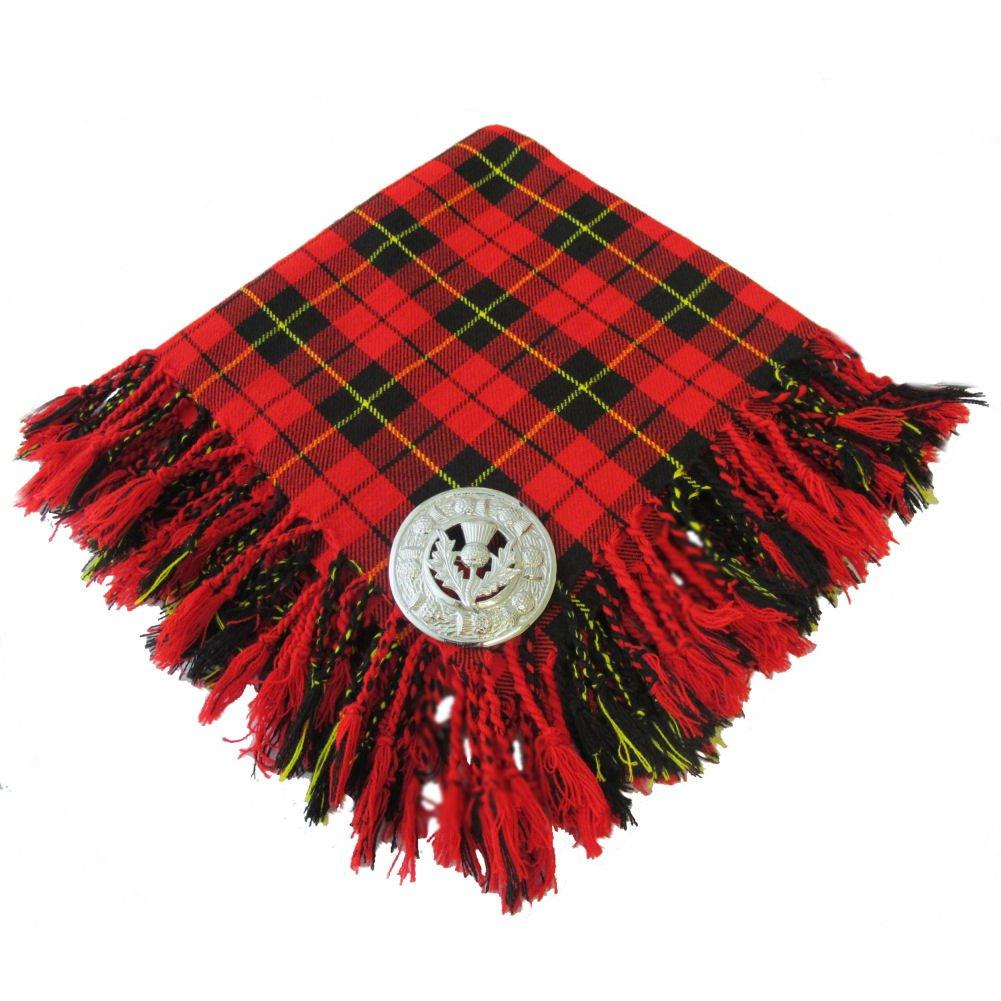 Active Men Scottish Wallace Tartan 4way Purled & Fringed Kilt Fly Plaid 48 X 48