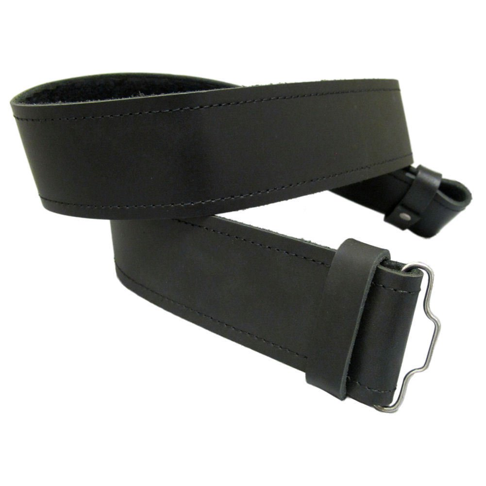 Pure Black Leather Kilt Belt 46 Size Thick Black Kilt Belt for Traditional & Utility Kilts
