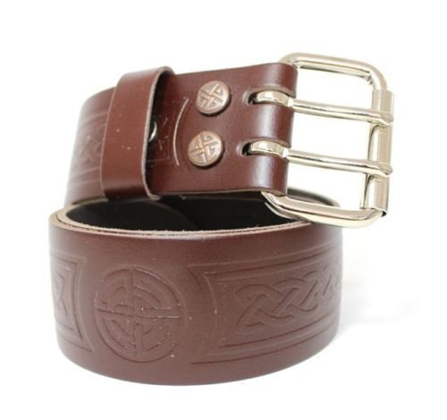 Brown Leather Utility Kilt Belt with Celtic Knot Designed Double Pronged Removable 34 Size