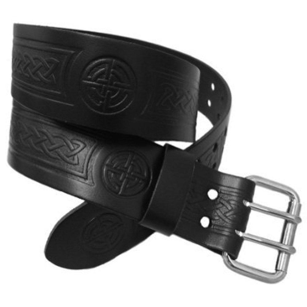 size 42 Black Leather Utility Kilt Belt with Celtic Knot Designed Double Pronged Removable