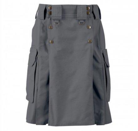 Size 44 Gray Tactical Duty Utility Kilt Gray Cotton Kilt With Cargo Pocket