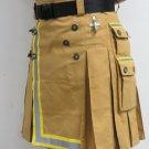 34 Size Fireman Khaki Cotton UTILITY KILT With Cargo Pockets Heavy Duty Utility Kilt