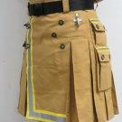 42 Size Fireman Khaki Cotton UTILITY KILT With Cargo Pockets Heavy Duty Utility Kilt