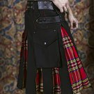 48 Size Black Cotton & Royal Stewart Hybrid Utility Kilt with Cargo Pockets All Sizes Available