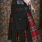 50 Size Black Cotton & Royal Stewart Hybrid Utility Kilt with Cargo Pockets All Sizes Available