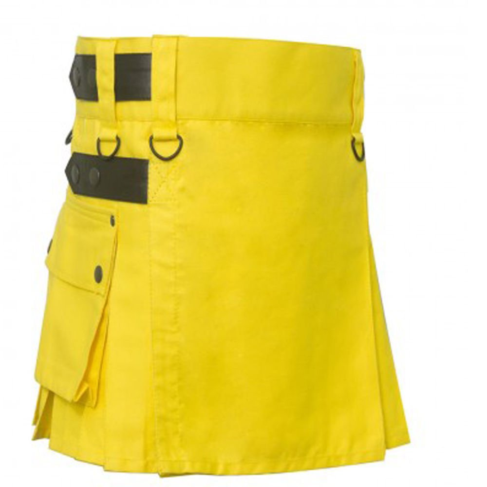 Ladies Tactical Yellow Cotton Utility Kilt Style Skirt Custom Size Leather Strap Scottish Kilt